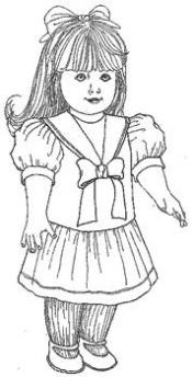 Click to enlarge image Dress w/ Dropped waist-Detach Collar that fits American Girl - Pattern 50